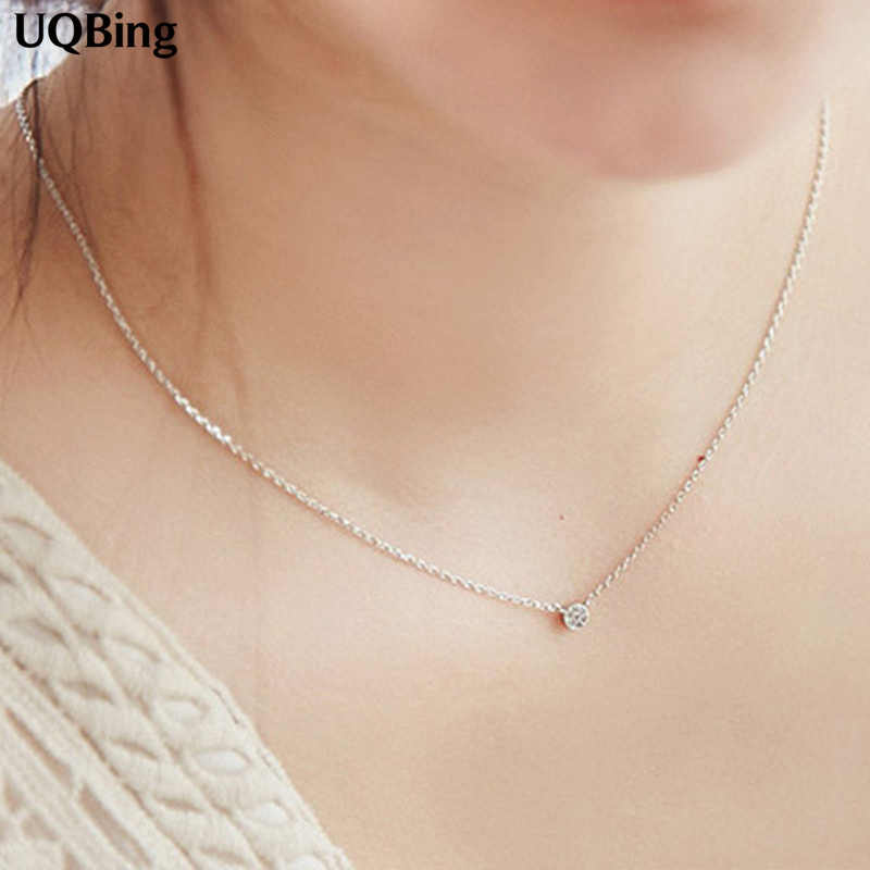 2016 Drop Shipping 925 Silver Chain Necklaces Rhinestone Round Pendants&Necklaces Jewelry Collar Colar de Plata