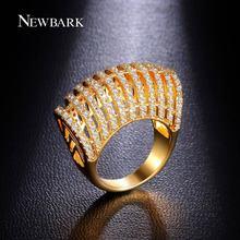 Newbark color plata anillos de punk pop de corea del embutido 11 filas zirconia señora rica grandes anillos anéis feminino feliz feliz navidad