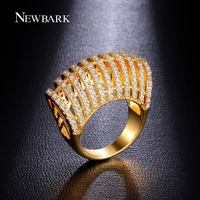 NEWBARK Jewelry Big Rings For Women Vintage Crown 18k Gold Plated 11 Rows Zirconia Diamond Inlaid
