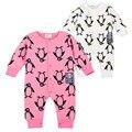 Animais Romper Do Bebê Das Meninas Dos Meninos Unisex Newborn Bebe Corpo Único Breasted Roupa Infantil do Teste Padrão do Pinguim Do Bebê Macacão