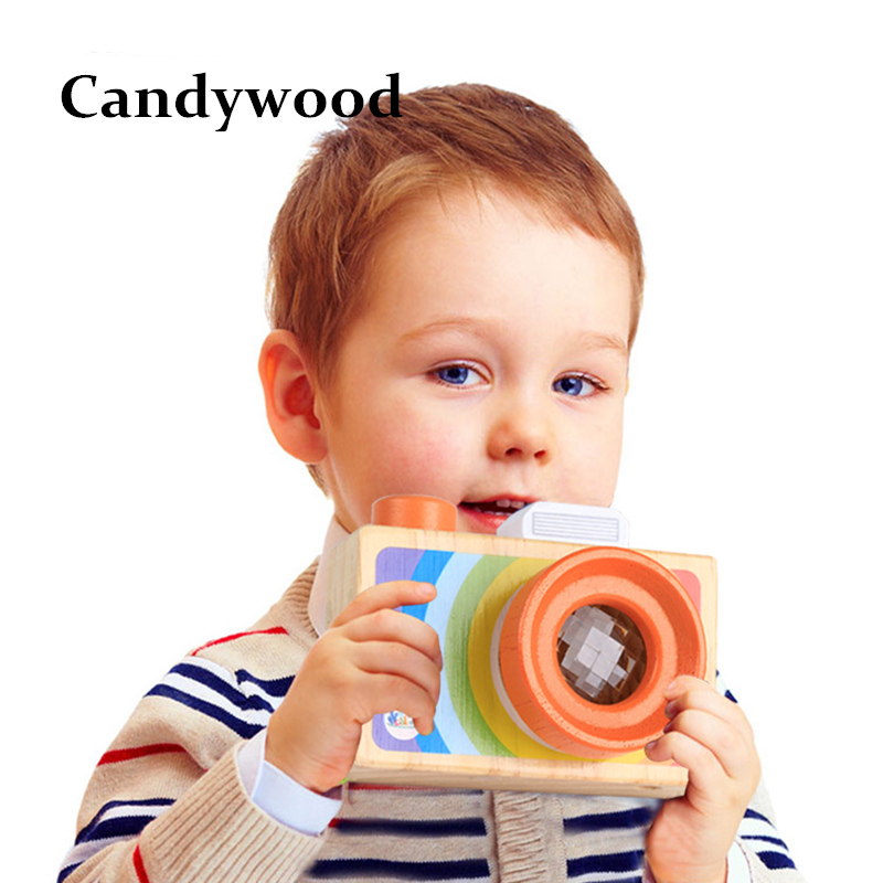 Kids Wooden Toys Simulation Camera Kaleidoscope Educational
