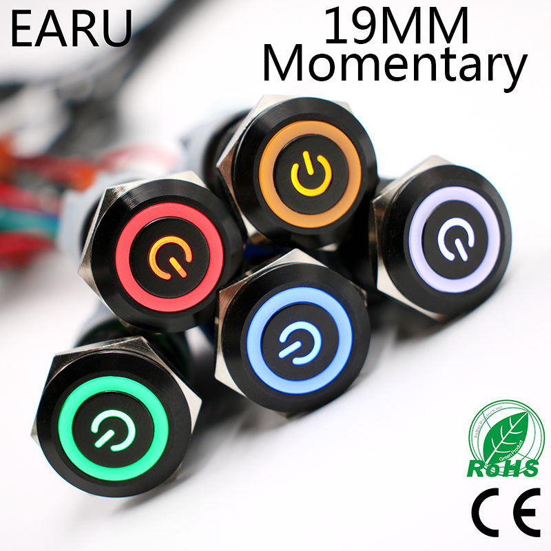 19mm Alumina Black Waterproof Momentary without no Fixation Metal Push Button Switch LED Light Horn Car Auto Engine Start Power