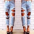 De las mujeres Atractivas Destroyed Ripped Apenada Denim Harem Pantalones Flacos Se Desvaneció Denim Jeans de Algodón Casual Slim Fit Fresco Boyfriend Jeans