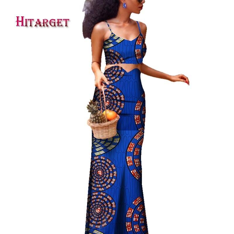 africa skirt set danshiki african long skirt+sling top for women 2 piece clothes WY3865