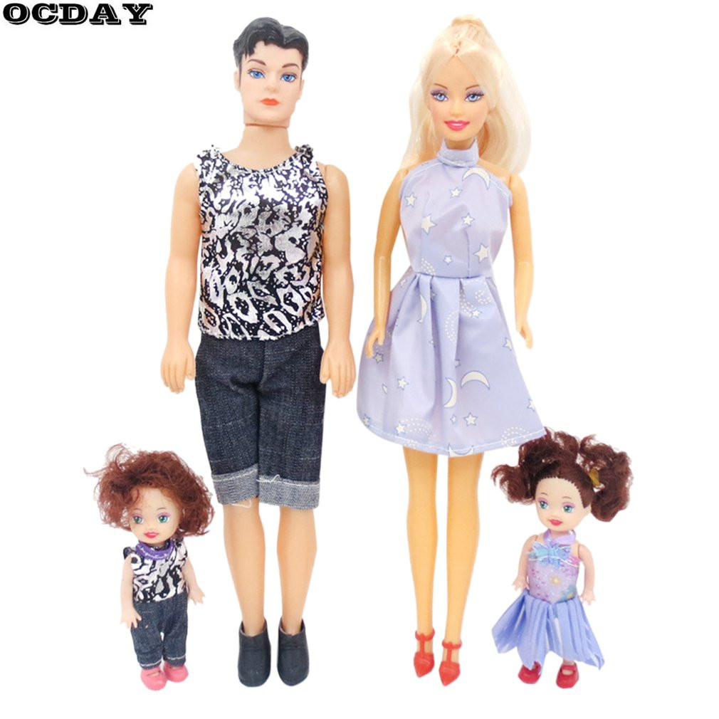 Toys Family 4pcs Baby Dolls Suits Father+Mother+2 Kids Dress Up Kit Children Toys Kids Toys Removable Joints Plush Stuffed Doll