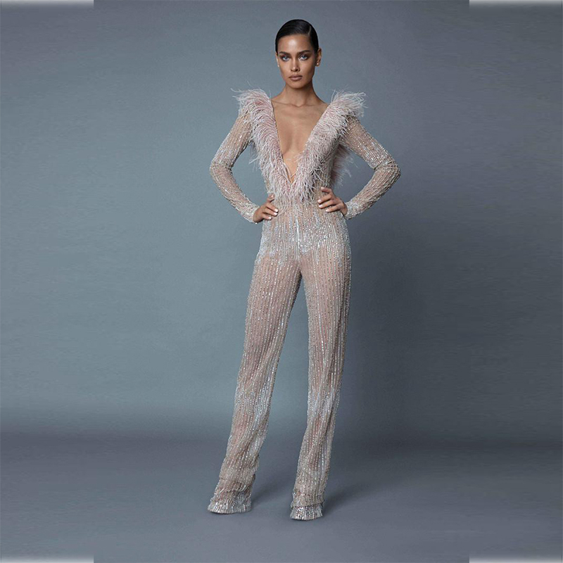 summer jumpsuit 2019 sexy deep V neck backless sequin jumpsuit elegant celebrity chic party feather bodysuits vestidos Wholesale