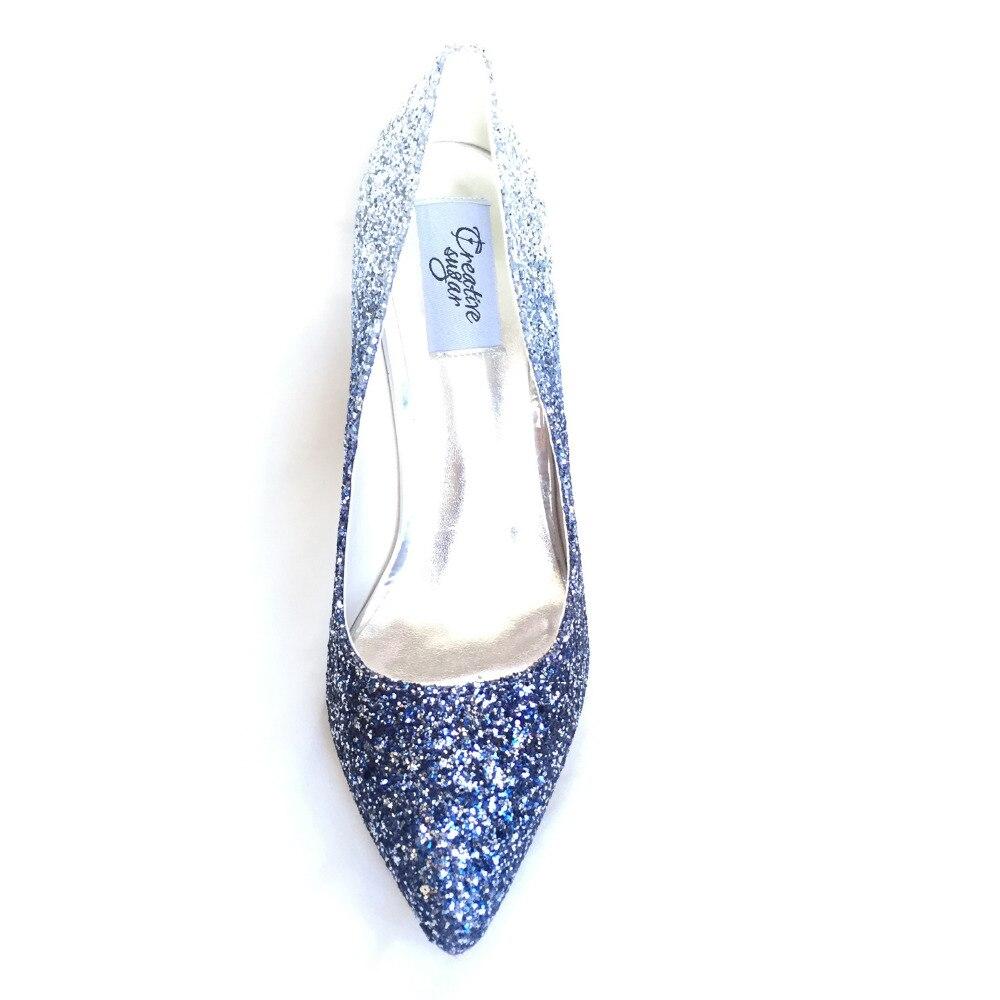 Mariée Pompes Gradient Talons Glitter Mariage 3d Brillant Lady Chaussures Hauts Soirée Robe Bout Creativesugar Bling De Couleur Pointu Bleu q7At7wW8