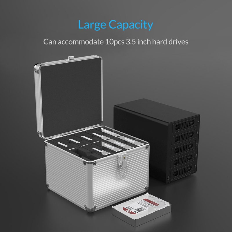 ORICO Aluminium 5 & 10 baies 3.5 pouces Disque Dur boîte de protection De Stockage avec Verrouillage (non compris DISQUE DUR) -argent - 3