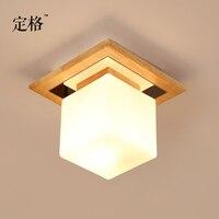 A madeira japonesa conduziu luzes de vidro quadradas do quarto do corredor da entrada da luz de teto 20*20cm