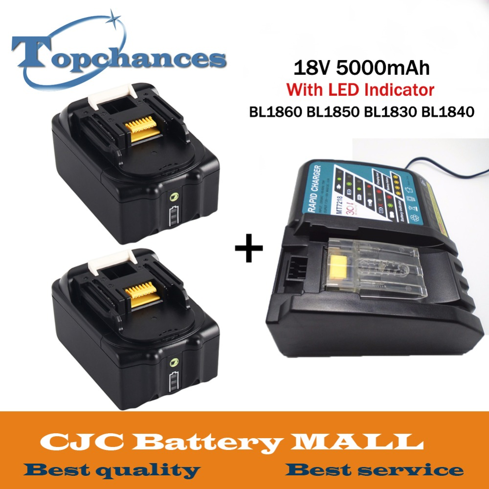 2PCS 18V 5000mAh With LED Indicator Li-ion Battery For Makita Battery BL1860 BL1850 BL1830 BL1840 194205-3 Power Tool+Charger [lmc 100110] экран с электроприводом lumien master control 229x305 см 146 matte white fiberglass черн кайма по периметру