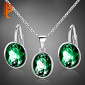 Women's Crystal 925 Sterling Silver Jewelry Set Fashion Wedding Party Green Rhinestone Earrings and Pendant Necklace Jewelry Set