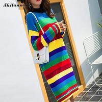 Womens Sweaters 2019 Multi Colored Striped Sweater Dress Women Turtleneck Long Sleeve Knitted Long Rainbow Sweater Winter Dress