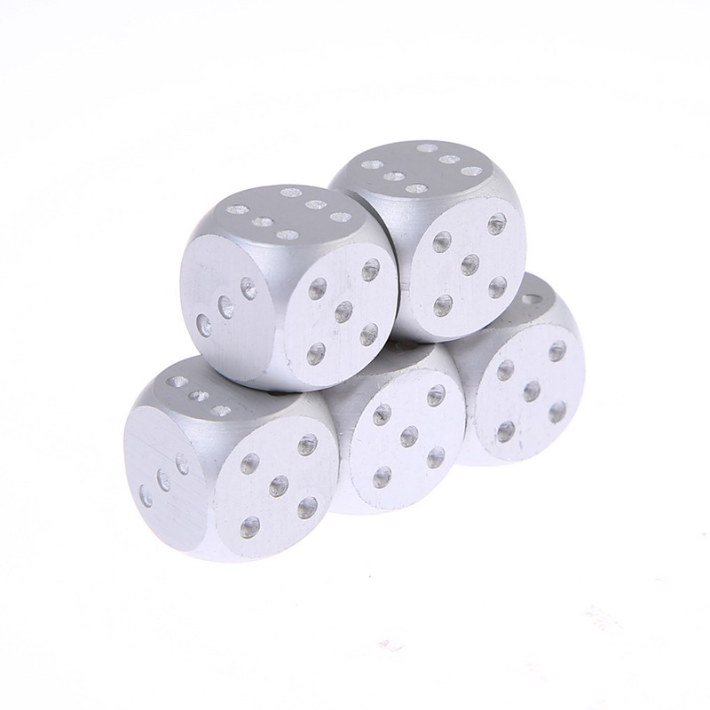 Aluminium Alloy Dice 5PCS Poker Set Portable Metal Case Gold Color Dices Solid