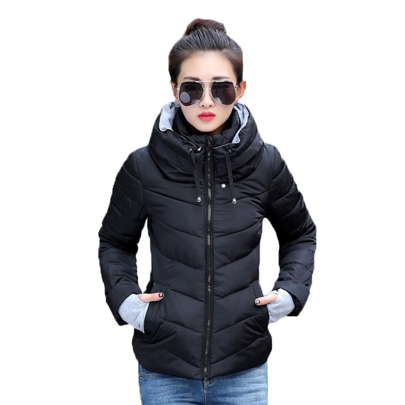 Plus Size 3XL Slim Short Winter Jacket Solid Casual Coat Women   Parka   2018 Thick Warm Zipper No Cap Winter Jacket Coat Female