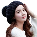 Mujeres cable de punto de lana francés beret slouch sombreros cap pompom invierno packable negro cap boina francesa