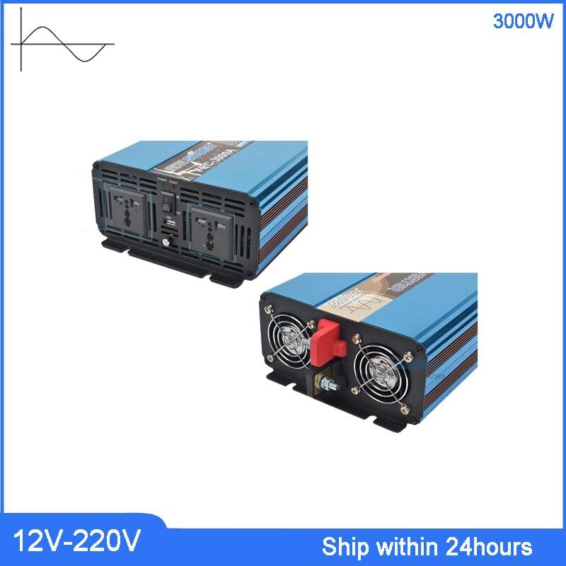 3000 W onduleur haute puissance DC 12 V à AC 220 v onduleur/camion avec Port USB 5 V/prise personnalisée transformateur à onde sinusoïdale Pure - 3