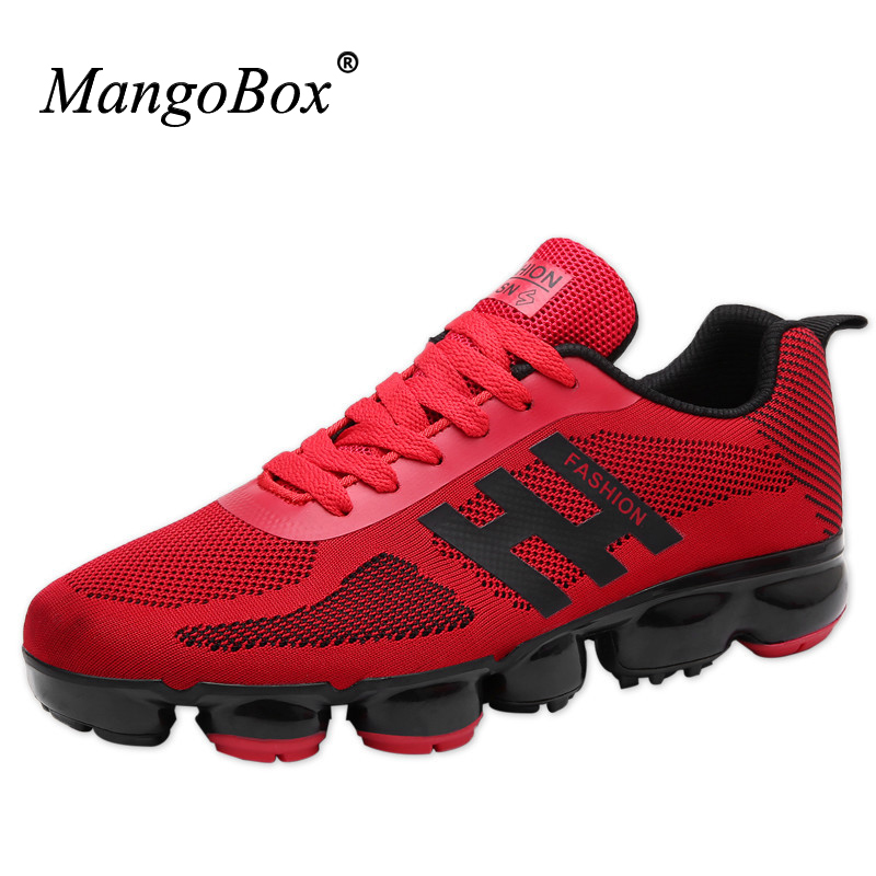 MangoBox 2017 New Arrival Mens Running Sneakers <font><b>Shoes</b></font> Red Black Athletic Trainers Brands Summer Comfortable Gym Sneakers