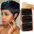 27 Pieces Short Hair Weave With Free Closure 7A Brazilian Virgin Human Hair Short Bump Weave Style 3 Pcs/Lot Free Shipping