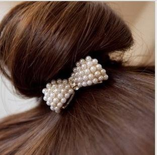 12pcs/lot Free Shipping Fashion Pearl Bow Elastic Hair Bands, Woman Girls Ponytail Hair Tie Band hair accessories
