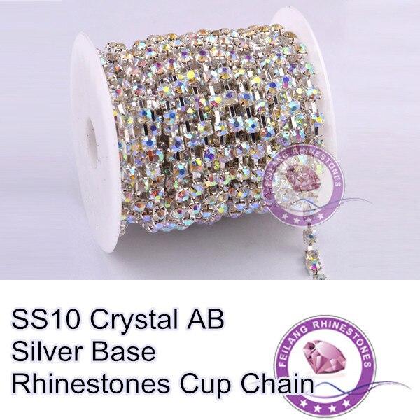 Sewing Accessories Rhinestone chain SS10 crystal AB stone Silver base MOQ  10yard roll sparse claw 7a8055761af3