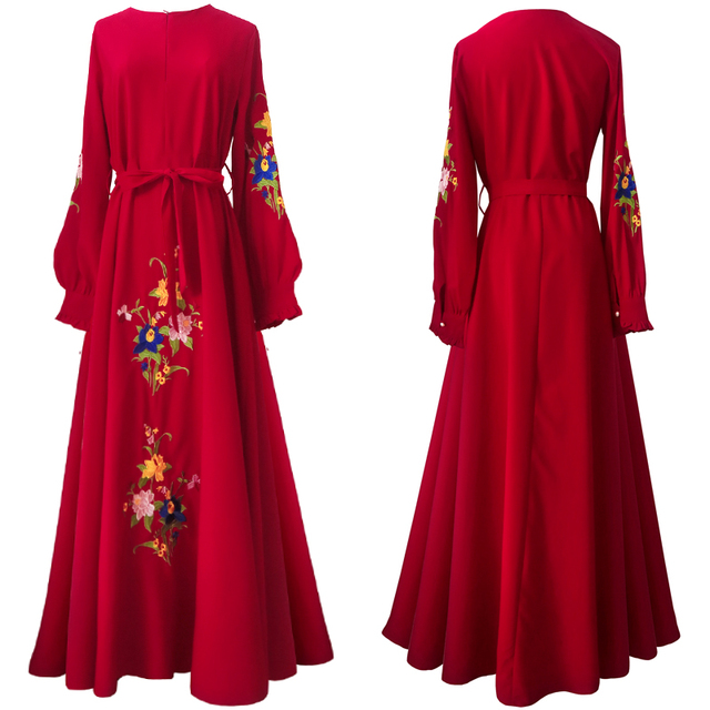 HANZANGL Autumn 2018 New Muslim Women Long Sleeve Dress Middle Eastern Embroidered  Dress Casual Vintage Long Robe 2539718fcde0