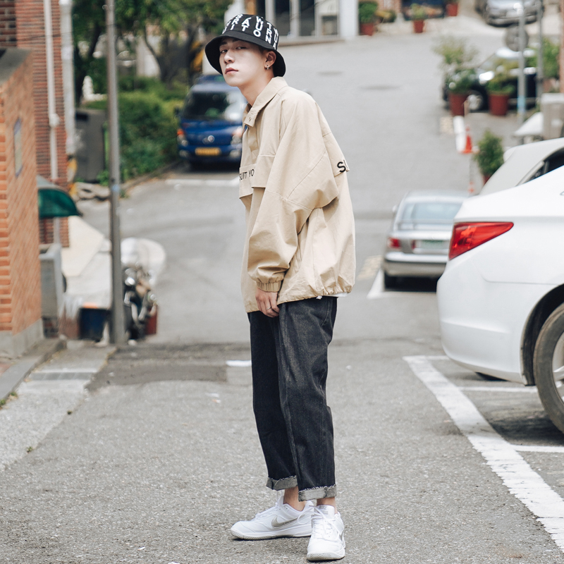 Casual Manteau De Tendance Du 1 2 Jeunes Coréenne Hommes Qualité Pull Brodé Col Automne Lettre Version Veste Lâche Haute awq17B