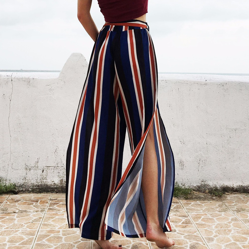 Women's British Style Striped Wide-leg Pants High Waist With Belt Leisure Vacation Sexy Open Chiffon Trousers