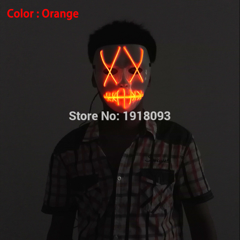 Hot Sales EL wire Cosplay Halloween Cartoon Clown LED Mask For Party ...