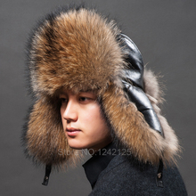 New Russia winter parent-child boy men women real fur hat genuine leather top Whole fox ear Earmuff raccoon hats cap