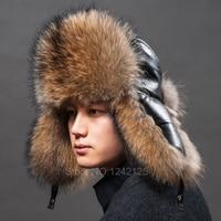 New Russia Winter Parent Child Boy Men Women Real Fur Hat Genuine Leather Top Whole Fox