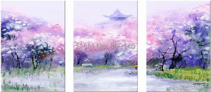 Japanese Cherry Blossom oil painting canvas abstract Landscape ... Japanese Cherry Blossom Landscape Painting