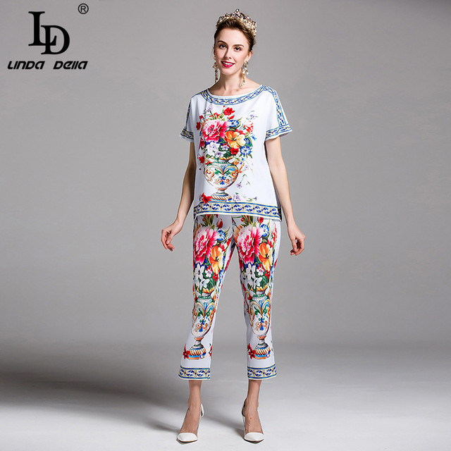 High Quality Women's Clothes Set 2 Two Piece Gorgeous Charming Vase Flower Floral Print Beading Casual Long Pants suit