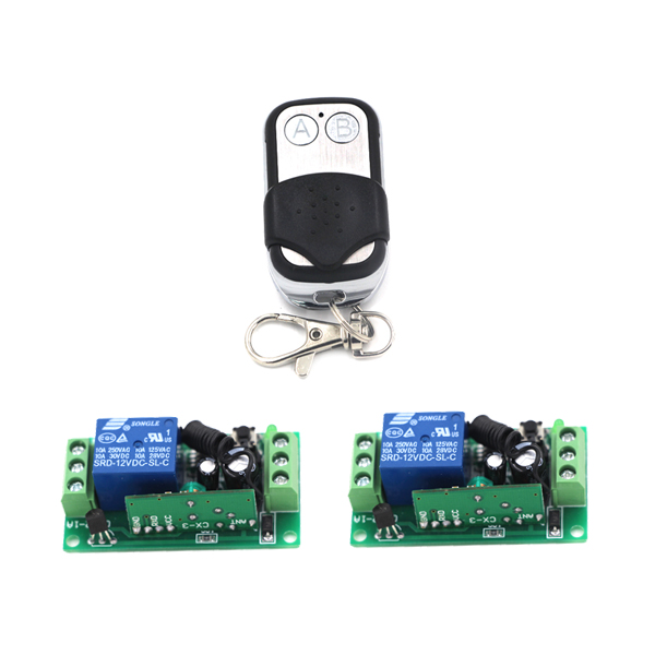 2CH AB Button Remote +2 Receiver Each CH Independent 12V 10A Toggle/Momentary/Latched LED ON OFF Remote Control Switch SKU: 5401