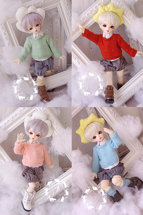 Leisure Sweater+Strap Shorts+White Shirt(3 pcs) Cute Suit For BJD 1/6 YOSD LUTS DOD AS Doll Clothes CM84 sweetie chocolate mousse european retro outfit dress suit for bjd doll 1 6 yosd doll clothes lf9