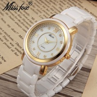 Miss fox hot luxury watch woman ceramic gold inlaid gold watch female top brand waterproof diamond scale ladies wrist watch new