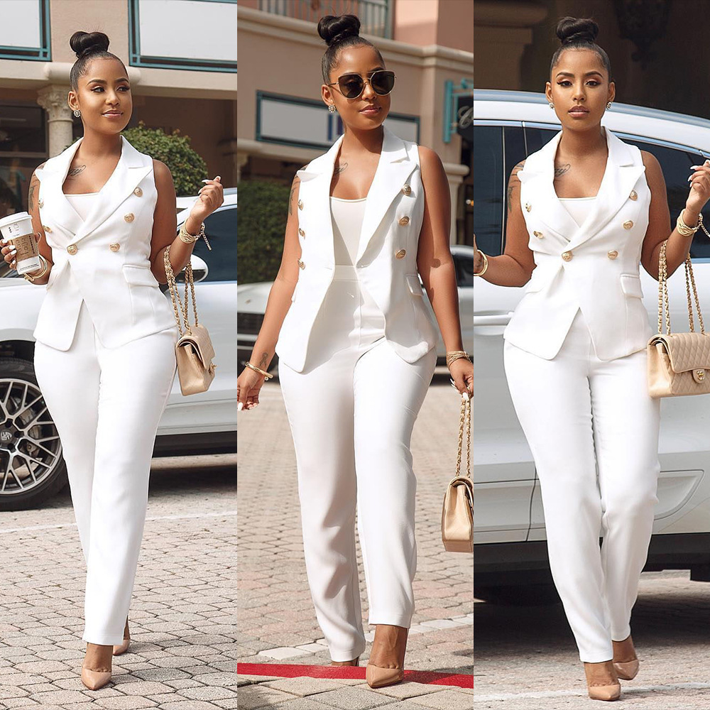 Women Summer Formal Pant Suit Sleeveless Blazer Jacket and Pants 2 Piece Sets Womens Office Work Clothing White Pantsuit