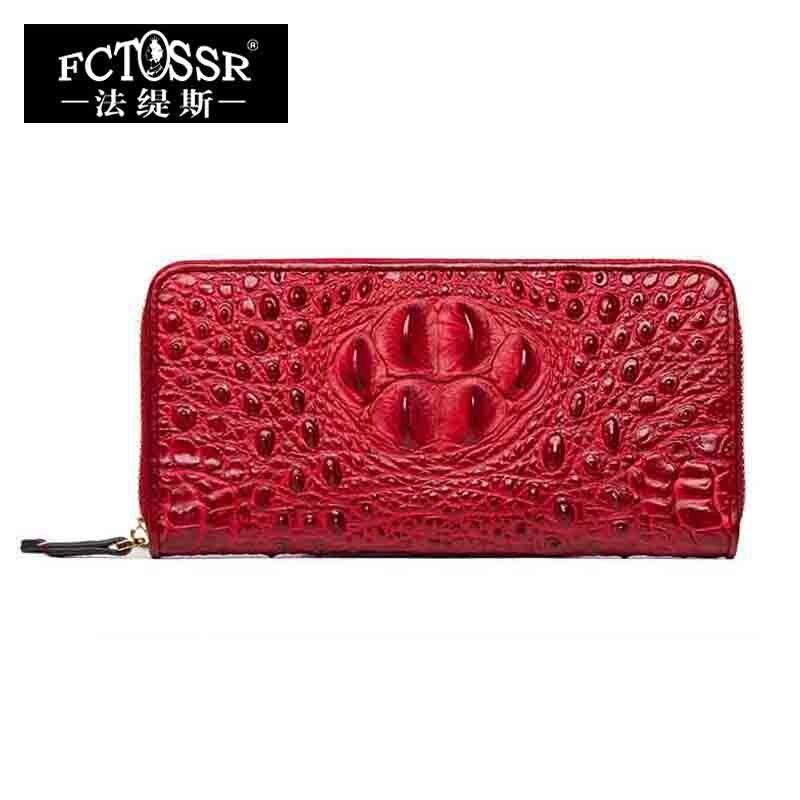 Crocodile Print Leather Fashion Women's Wallet 2018 Long Purse Handmade Genuine Leather Women Clutch Wallets Lady Card Holder