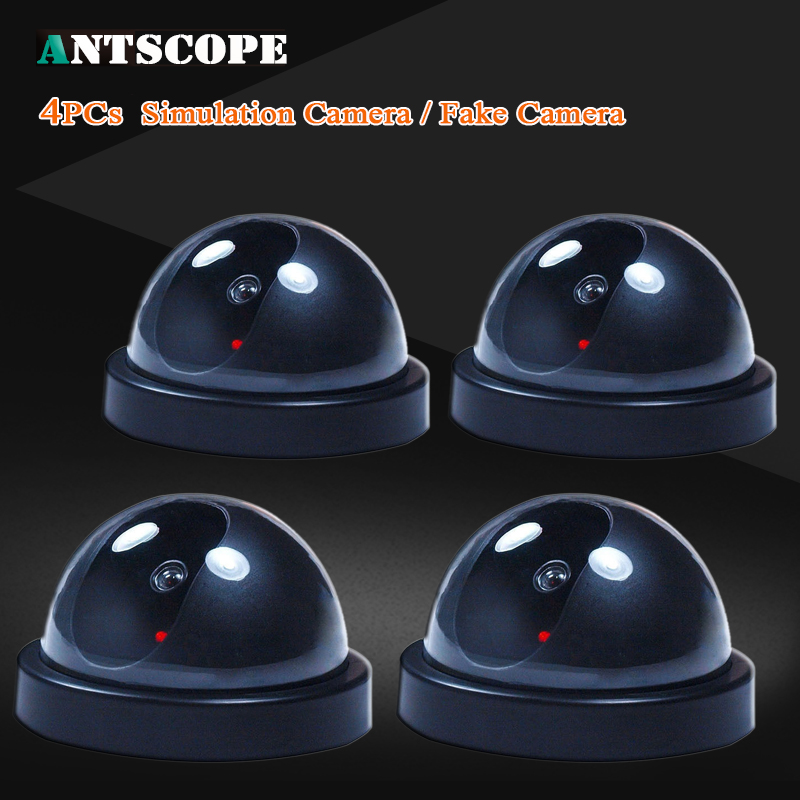 4pcs/lot 3.54'' 9cm Fake Camera Indoor Outdoor Dummy Dome Cam With Red LED Light Indication Home Security Surveillance Cameras white black dummy camera fake dome cctv camera indoor outdoor red led flashing light for home security for christmas