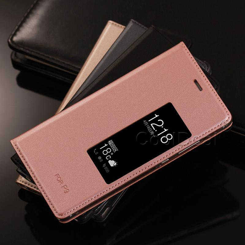 For Huawei P9 Plus 5.5inch PU Leather Cover Cases For Huawei P9 5.2inch Luxury Mobile Phone Smart Flip Case & View Window
