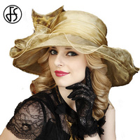 Woman Champagne Pink Brown Flower Foldable Sun Hat Elegant Church Wedding Hat