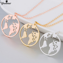 Yiustar New Trendy World Map Necklace for Women Origami Round Necklaces & Pendants Fancy Fine Geometric Jewelry Girls Necklace