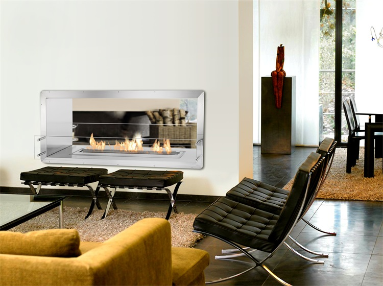 Stainless Steel See Through Double Sided Electric Fireplace