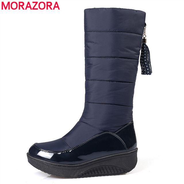 MORAZORA Plus size 35-44 Russia warm snow boots patent pu leather platform mid calf women boots footwear winter shoes blue black