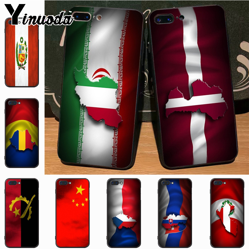 Yinuoda Country Flag lovely black soft tpu Phone Accessories Case for iPhone 7plus 6S 7 8 8Plus X 5S 11pro case cover
