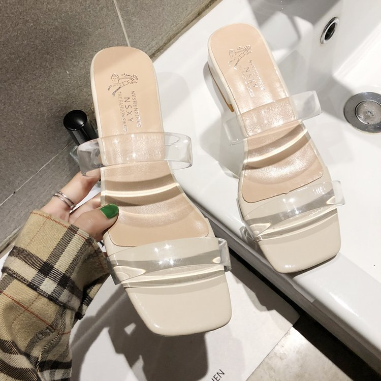Sandals Female Summer  American Temperament Joker Simple Thick Heel Sexy Toe With Crystal Shoes Half Drag Slippers Women
