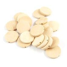 Abalorios de Chip de madera natural de Agujero Recto, cuentas de madera redondas con diseño geométrico inacabado, para fabricación de joyas y colgantes decorativos DIY