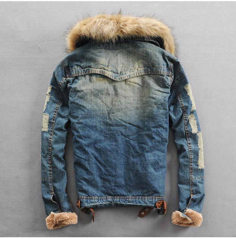 b10bc713e42f Faux Fur Collar Men Denim Jackets New Winter Warm Solid Single Breasted  Thicken Jean Jackets Coats Denim Jacket Plus Size M 3XL-in Hoodies &  Sweatshirts ...
