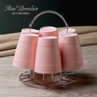 Free Shipping 6 Pcs Ceramic Cup Mug Set With Rack 200 Ml Fashion Coffee Cup Mug