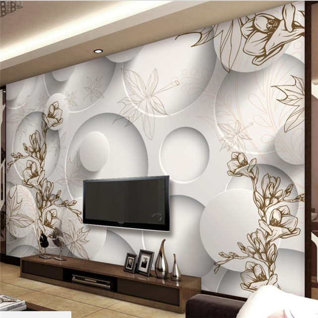 beibehang personnalis papier peint 3d grand papier peint mural r tro ligne dessin magnolia. Black Bedroom Furniture Sets. Home Design Ideas