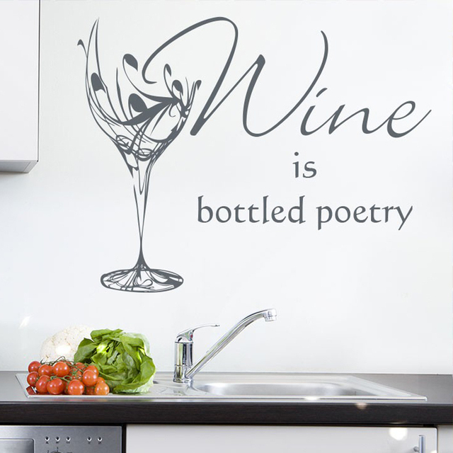 Wine is the Bottled Poetry Wine Quotes Vinyl Wall Decals Removable Art Glass Sticker for Kitchen  sc 1 st  AliExpress.com & Wine is the Bottled Poetry Wine Quotes Vinyl Wall Decals Removable ...